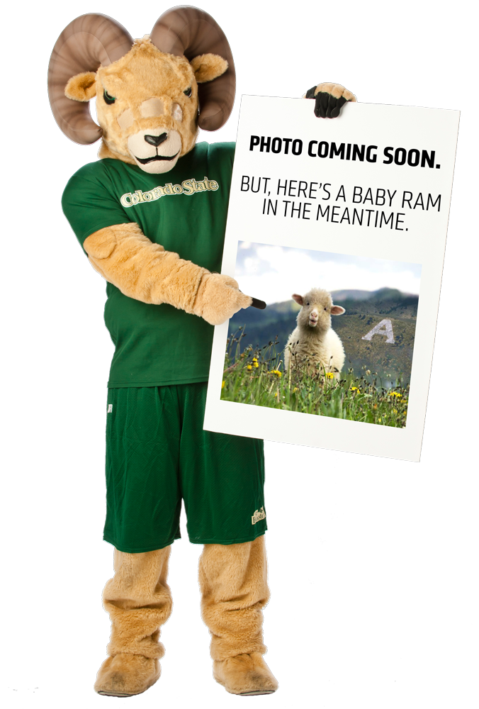 "CAM the Ram holding ""photo coming soon"" sign"