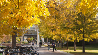 The Colorado State University Plaza in the fall
