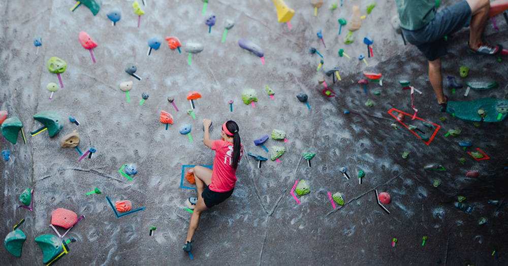 Photo of the climbing wall within the CSU Recreation Center.