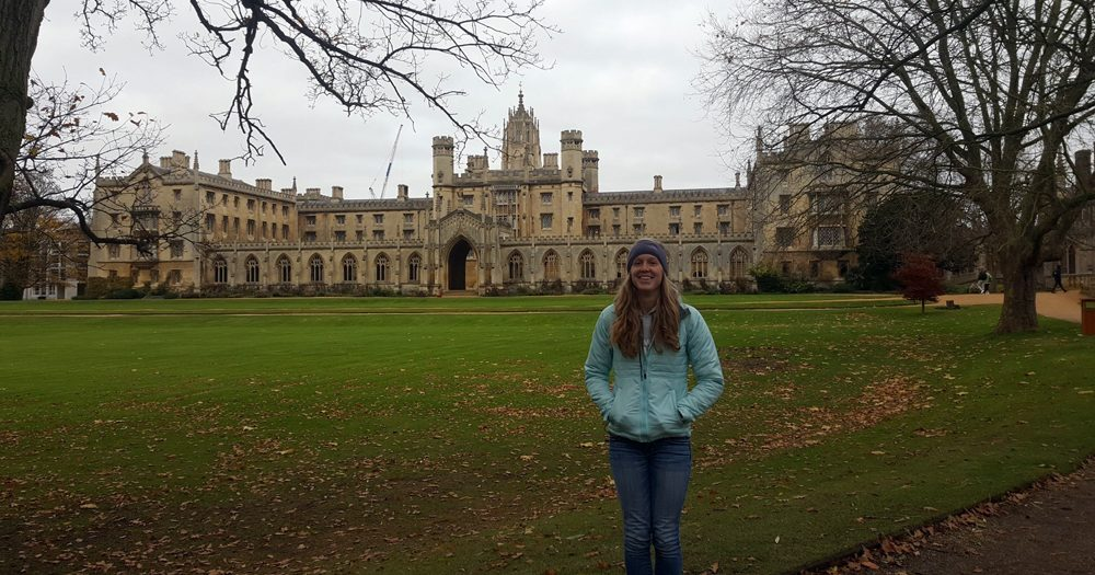 Gabby recently visited the University of Cambridge, where she was accepted into a Master's program.