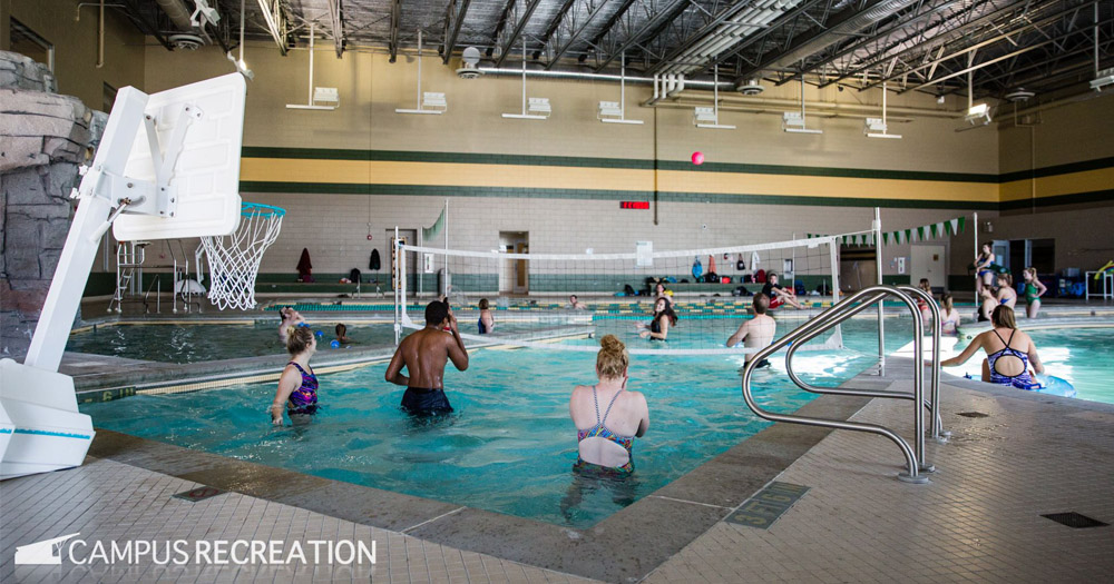 Photo of CSU rec center pool during a staff training session.