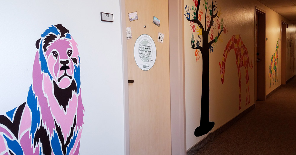 Each floor of the building is filled with a particular theme of student artwork.