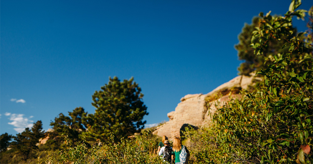 Students take a hike along Horsetooth Reservoir.