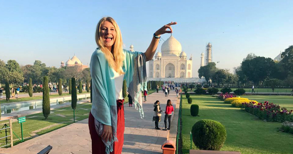 Rachel was able to check out the Taj Mahal while ported in India.