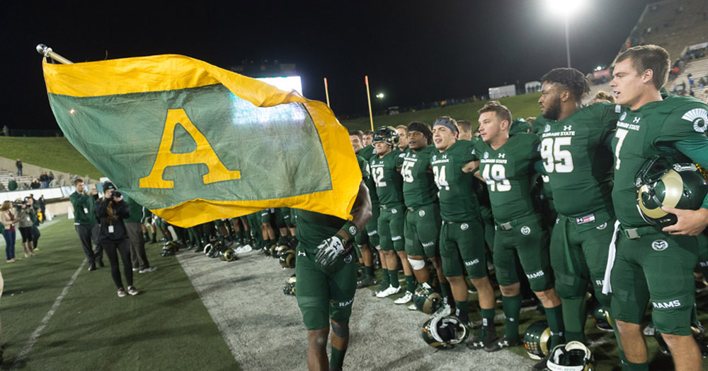 """CSU Athletics teams still honor history and heritage by flying the """"A"""" flag at games."""