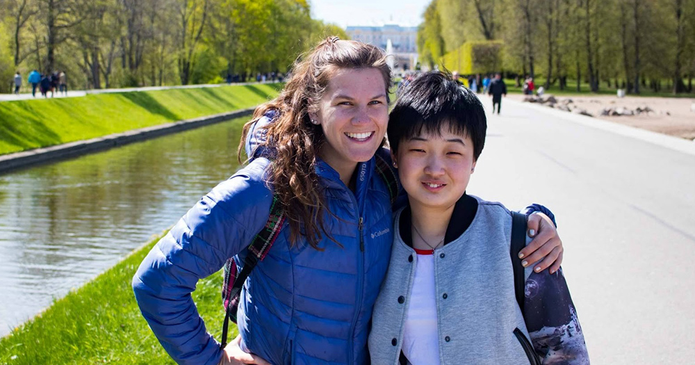 Nikki spends time with her brand-new friend Wendy in St. Petersburg, Russia. She participated in a trip led by her student organization.