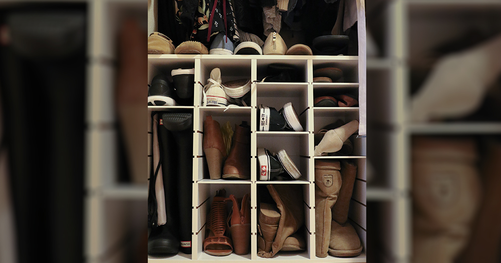 Grab a re-sizeable shoe organizer from places like Bed, Bath and Beyond.