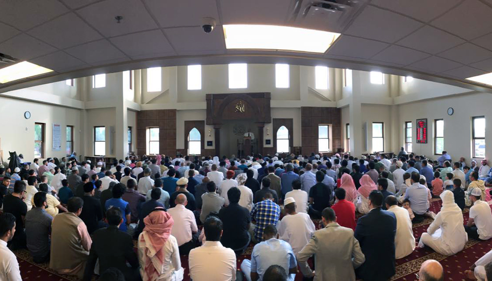 Friday prayer at the Islamic Center. The Center has 600 active members.