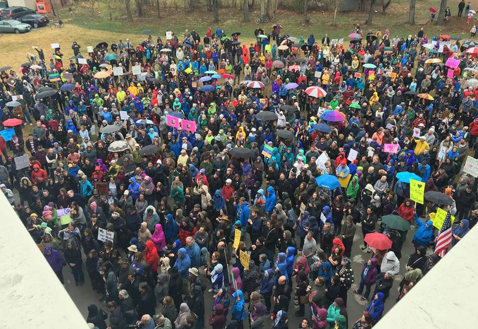 After an incident of vandalism in 2016, the Fort Collins community came out in droves to show their support. A photo of the support rally with over 1,000 participants.