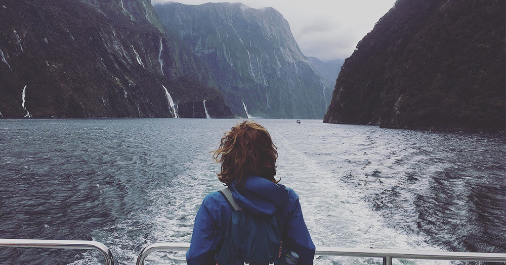 Rebecca on a boat in New Zealand.