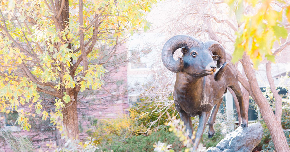 Ram statue on campus