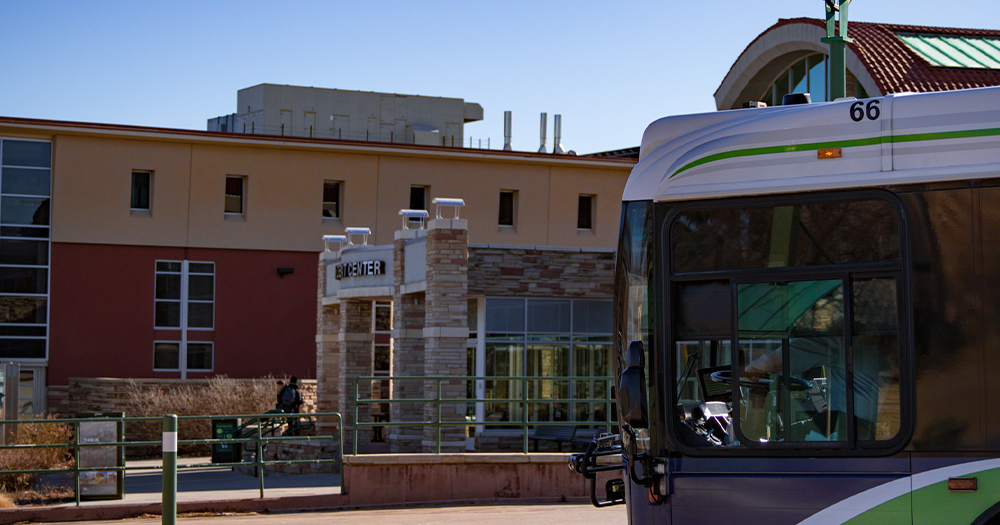 The CSU bus station is located inside the Lory Student Center.