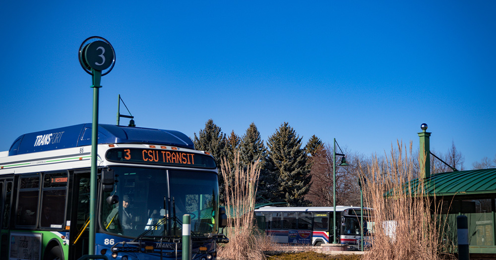 A route 3 bus arrives at the CSU campus station.