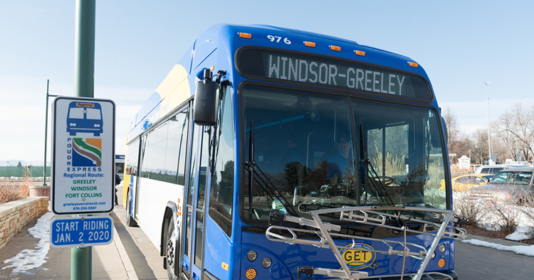 Bus with Windsor-Greeley destination