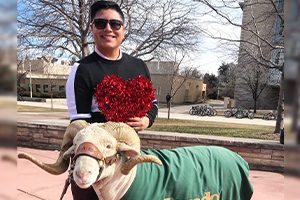 Miguel poses with Cam the Ram