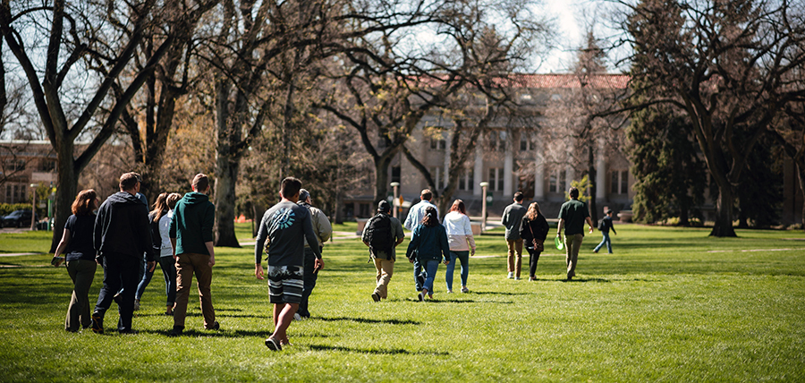 Students on a tour of Colorado State University in Fort Collins