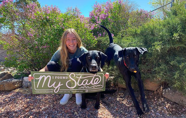 "A newly commited student displays a banner that reads ""I Found My State"" in an outdoor garden with two dogs."