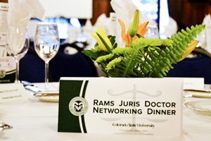 Nametag of CSU legal networking dinner